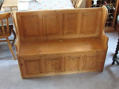 old solid pine settle