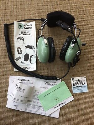 David Clark H10-76 Aviation Pilot Headset EXCELLENT CONDITION with Instructions!