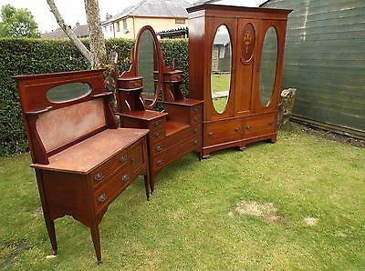 An Edwardian Inlaid Mahogany 3 Piece Bedroom Suite