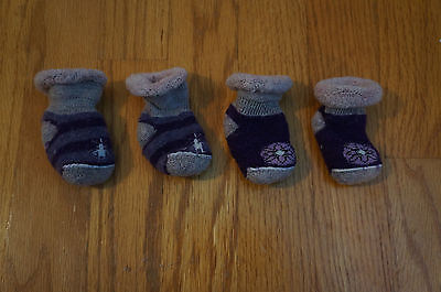 SMARTWOOL Infant Baby Bootie Purple Wool Socks, 2 pairs, VGUC