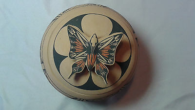 Jemez Pueblo Pottery Covered Bowl With Butterfly Lid by Mary Louise Eteeyan