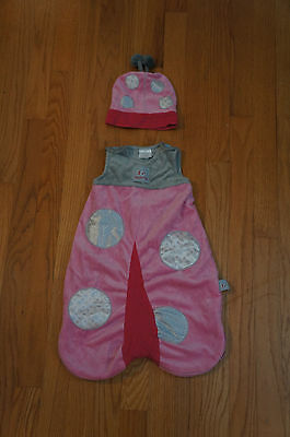 BABY ASPEN Snug As a Bug Ladybug Snuggle Sleep Sack w/ Hat, 0-6 Months, EUC