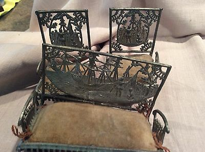 Victorian Antique Metal Doll Couch and Chair With Native American/ Ship Scene