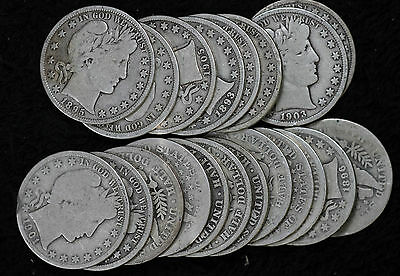 20 Circulated Barber Half Dollars - Many Better Date Coins!!  1893-1915