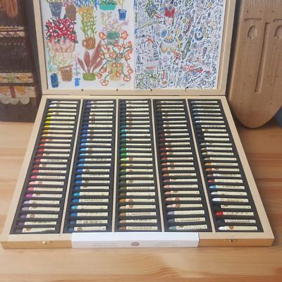 Sennelier 120 Artists Oil Pastels Wooden Box Set for Drawing + Colouring