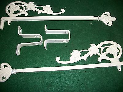 Vintage-Old-Antique- Cast  Swing A Way Drapery -Curtain Rods- 1 Pair.