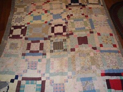Antique cutter quilt crafts fabric textile vintage hand quilted multi-colored