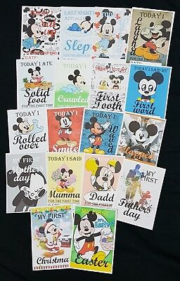 Baby birth milestones cards boys mickey mouse cute baby shower gift disney blue