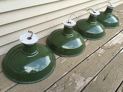 4 Appleton Industrial Green Porcelain Gas Service Station Lamps Lights Work 14""