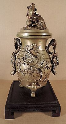 Large Antique Chinese Bronze Censer On Wood Stand