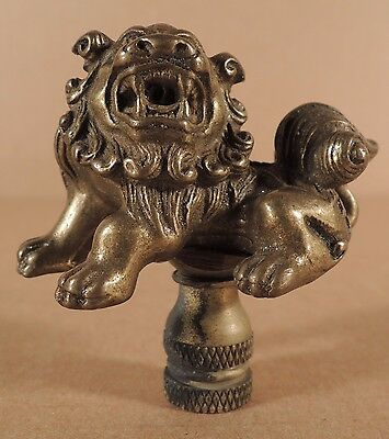 Vintage Chinese Bronze Or Brass Buddhistic Foo Dog Lamp Finial
