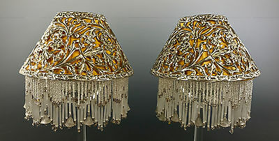Antique Silverplated Beaded Candle Shades Fabric Lining SET OF 2