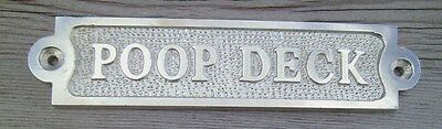 POOP DECK Sign Plaque Nautical Ship Boat Decor Chrome NEW