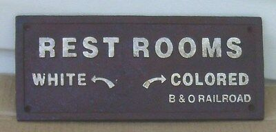 Black Segregation Sign REST ROOMS WHITE COLORED Cast Iron