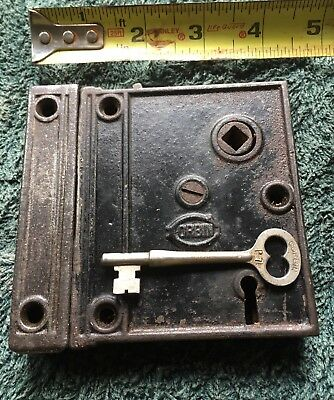"ANTIQUE Vintage ""CORBIN"" CAST IRON RIM KNOB LOCK W/ KEY - Key Is Signed CORBIN"