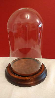 "Vintage GLASS DOME DISPLAY CASE WITH ROUND WOOD BASE 7"" x 4"" EUC"