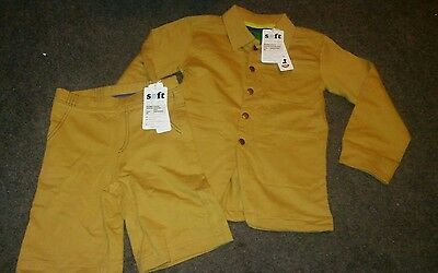 BOYS organic cotton 2pc outfit set size 4 LS TOP WITH SHORTS