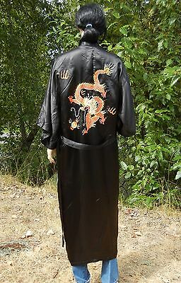 Silk Robe M Golden Dragon Robe Embroidered Belted Silk Dragon Robe Emperor Style