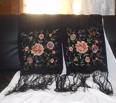 Vintage Oblong BLACK SILK, MULTICOLORED FLOWERS, Piano Scarf, NO RESERVE