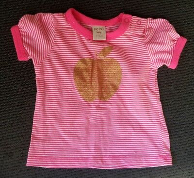 Seed baby pink fluro apple tshirt, size 3-6 months