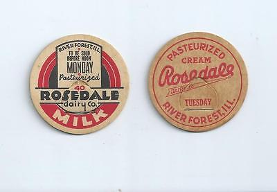 """Two different """"Rosedale Dairy Co.""""  River Forest, ILL.  milk bottle caps."""