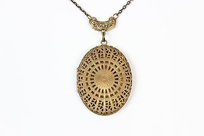 Oval Brass Filigree Vintage Locket Necklace, 19 inch Chain, Brass Connector