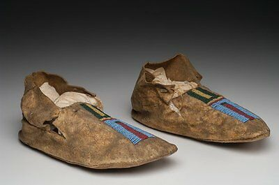 Crow Native American Indian Beaded Moccasins Antique Artifacts C. 1900
