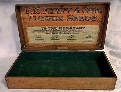 Antique Oak Wood Advertising Seed Box Store Display Ferry & Co