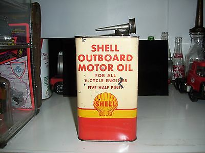 Vintage- Original 1930's Shell Outboard Motor Oil (5 Half Pints) Can - RARE