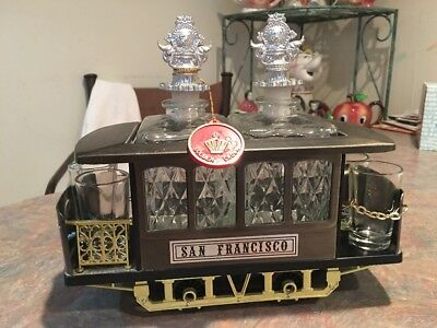 San Francisco Trolley Car With Decanters & Jiggers GOLDEN CROWN Music Box