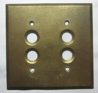Antique vintage tarnished brass 2 gang push switch wall cover plate early 1900s