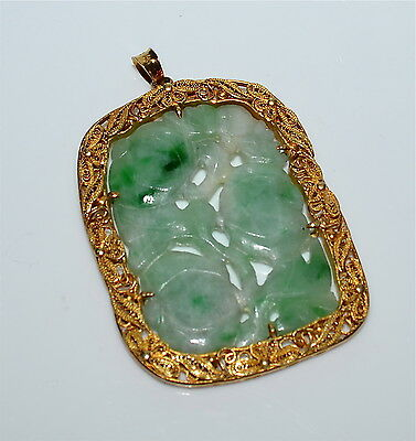 Large Antique Chinese 14 kt Gold and Carved Jadeite Pendant