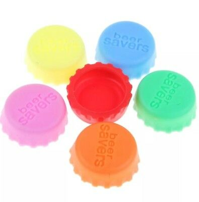 6 x Coloured Beer Savers, Top, Lid,Airtight, Silicone, Colours At Random