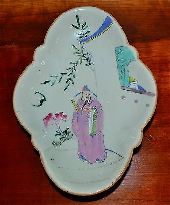 Old or Antique Chinese Porcelain Famille Rose Footed Bowl Immortal