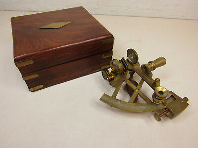 Antique Miniature Maritime Nautical Navigation Sextant In Wooden Chest