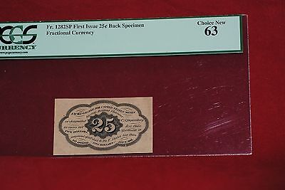 Fractional Currency: 1st issue 25C Back Specimen Choice New 63 Fr. 1282SP
