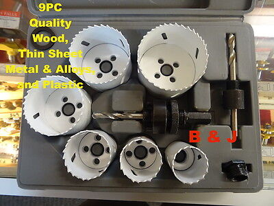9 Piece Contractors Holesaw Set Kit Hole Saw Arbor Drill Arbors Cutting Tool