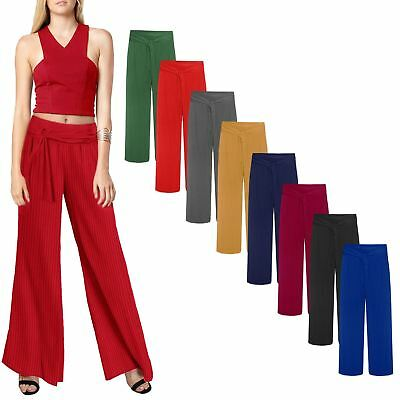 New Ladies Long Stretchy Belted Palazzo Crinkle Pleated Fashion Trousers Pants