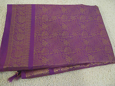 "NWOT Shawl Scarf Gold Metallic Threads Purple Fabric Size 34"" x 68"" India"