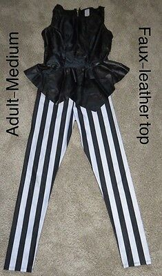 Black Faux Leather Top With White Stripe Pants Dance Competition Costume Adult M