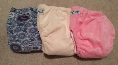 Lot of 3 Just Simply Baby Girl Minky Cloth Diapers 6 Inserts Blue Pink Floral