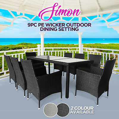PE Wicker 9pc Outdoor Dining Table Chair Furniture Set Garden Patio Pool Setting