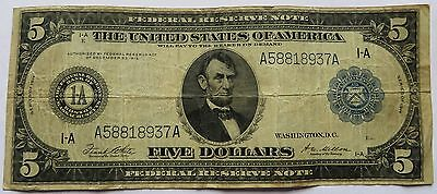 1914 $5 Federal Reserve Note, Vintage Lincoln Blue Seal Large Bill  (142209Q)