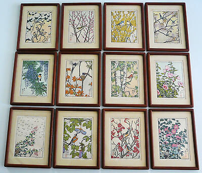 Rare Set Of 12 Framed Japanese Woodblock Prints By Toshi Yoshida:flowers & Birds