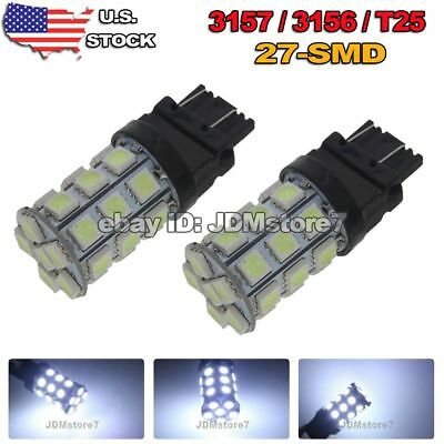 2x White 6000K 3157 3156 27-SMD 5050 Signal Brake Backup Light DRL LED Bulbs