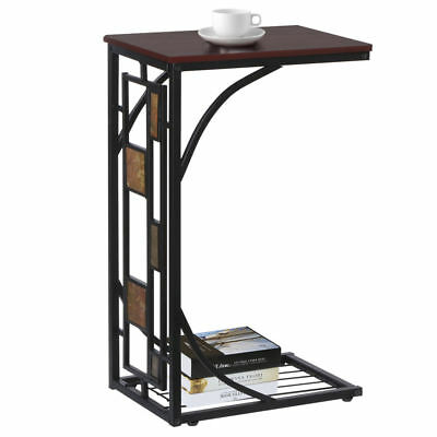 Living Room Sofa Side End Snack Coffee Table Stand Tray with Magazine Rack New