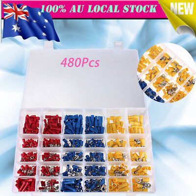 480Pcs Assorted Insulated Electric Wiring Terminal Crimp Spade Connector Kit AU