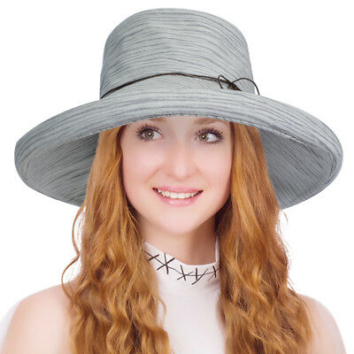 TERRA Women Floppy Folding Kettle Brim Cap Summer Cotton Sun Hat with Chin Cord