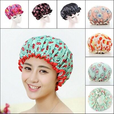 Women Waterproof Shower Caps Colorful Bath Shower Hair Head Cover Adults Bathing