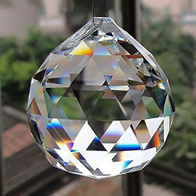 50MM FENG SHUI HANGING CRYSTAL BALL Sphere Prism  Suncatcher Pendant Hot